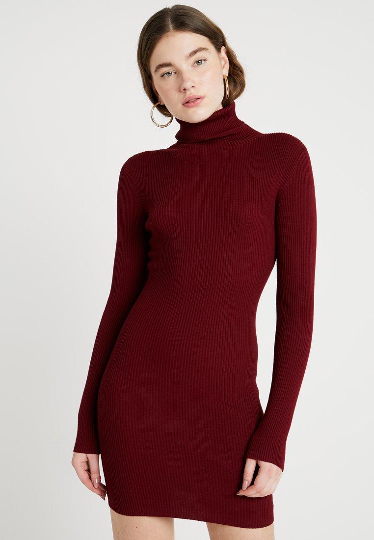 Missguided - ROLL NECK RIBBED  MINI DRESS - Jumper dress - burg