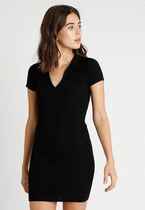 COLLAR PLUNGE MINI DRESS - Shift dress - black
