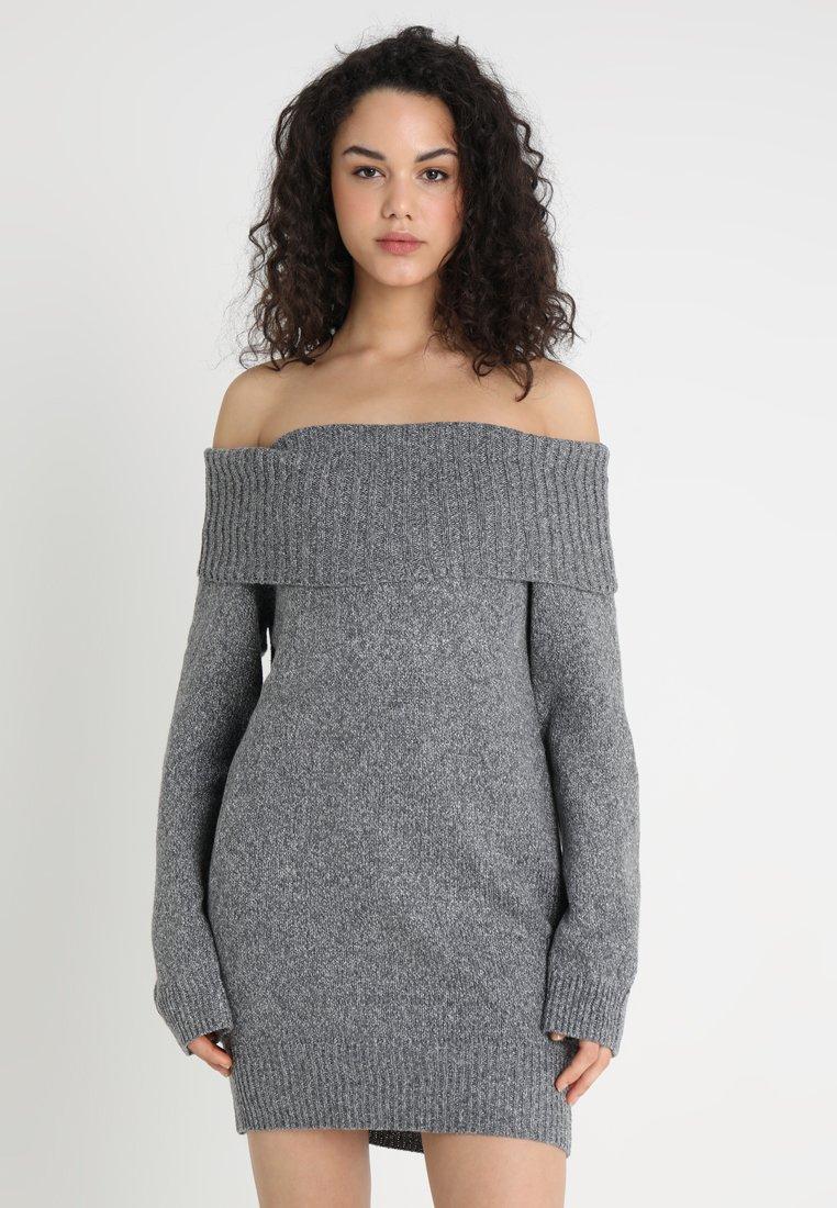 Missguided - MARL FOLD OVER BARDOT DRESS - Strickkleid - charcoal