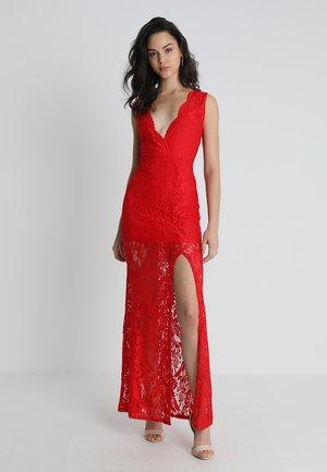 PLUNGE SCALLOP TRIM MAXI DRESS - Festklänning - red