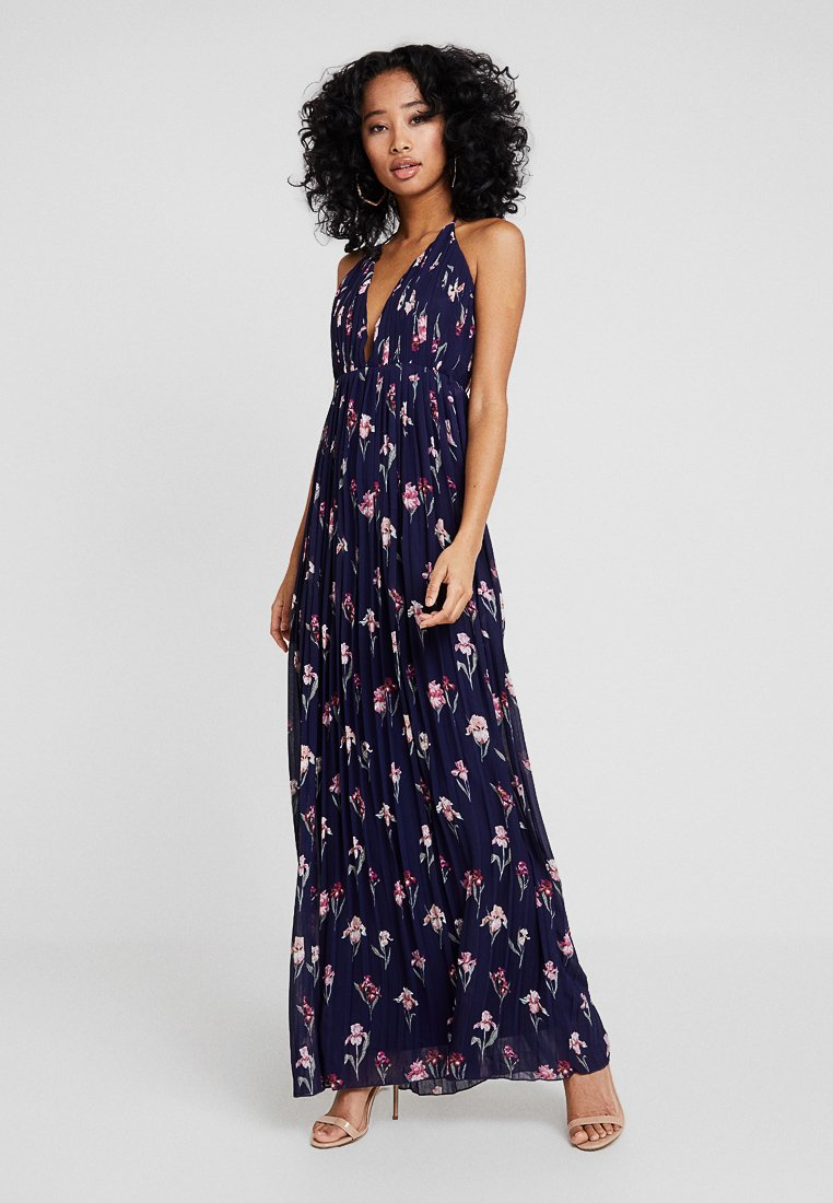 Missguided - BRIDESMAID FLORAL PLEATED PLUNGE CAMI MAXI DRESS - Occasion wear - navy