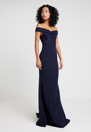 BRIDESMAID BARDOT LACE DETAIL FISHTAIL MAXI DRESS - Gallakjole - navy