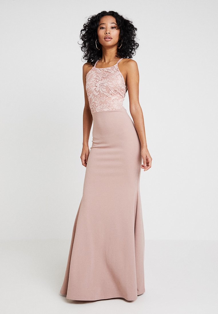 Missguided - BRIDESMAID STRAPPY LACE DETAIL MAXI DRESS WITH TRAIN - Robe de cocktail - blush pink