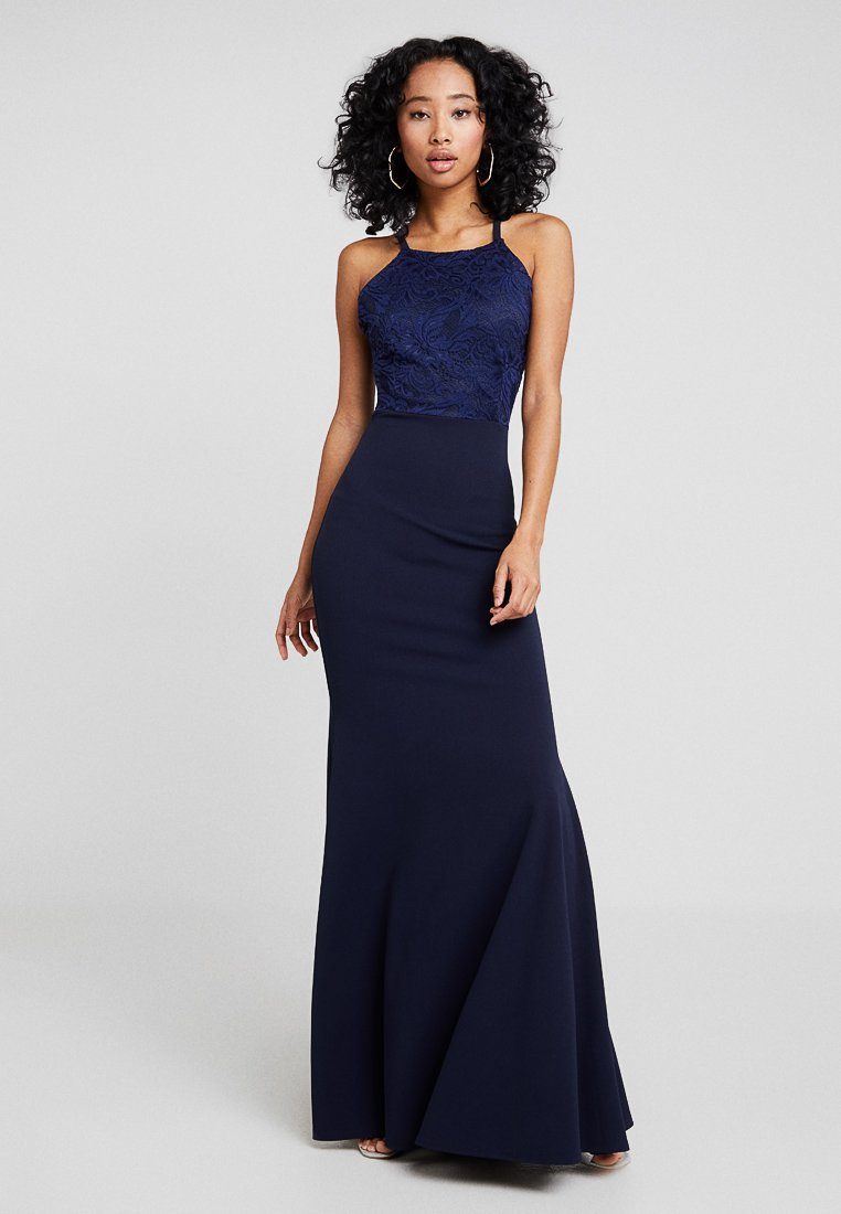 Missguided - BRIDESMAID STRAPPY LACE DETAIL MAXI DRESS WITH TRAIN - Ballkleid - navy