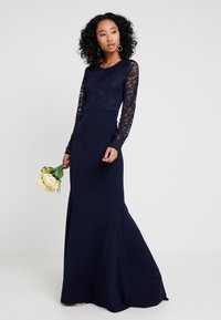 Missguided - BRIDESMAID BACKLESS LACE DETAIL FISHTAIL MAXI DRESS WITH TRAIN  - Galajurk - navy - 1