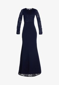 Missguided - BRIDESMAID BACKLESS LACE DETAIL FISHTAIL MAXI DRESS WITH TRAIN  - Galajurk - navy - 4