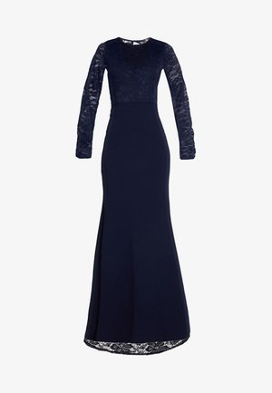 BRIDESMAID BACKLESS LACE DETAIL FISHTAIL MAXI DRESS WITH TRAIN  - Ballkjole - navy