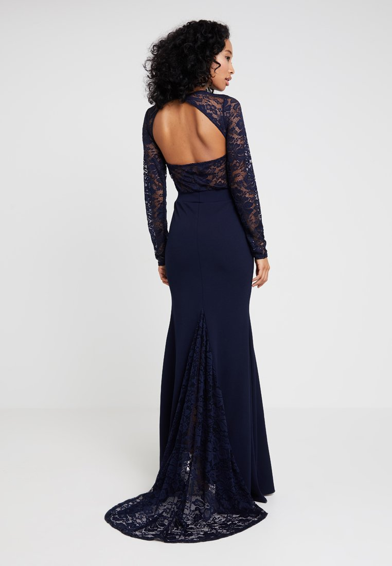 Missguided - BRIDESMAID BACKLESS LACE DETAIL FISHTAIL MAXI DRESS WITH TRAIN  - Galajurk - navy