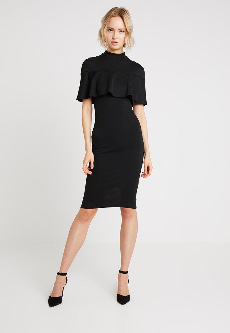 Missguided - FRILL OVERLAY MIDI DRESS - Shift dress - black