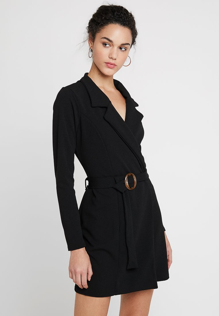 Missguided - LONG SLEEVE TORTOISE SHELL BELT DRESS - Etuikjoler - black