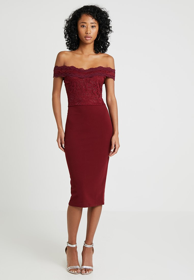 Missguided - BARDOT MIDI DRESS - Cocktailkleid/festliches Kleid - burgundy