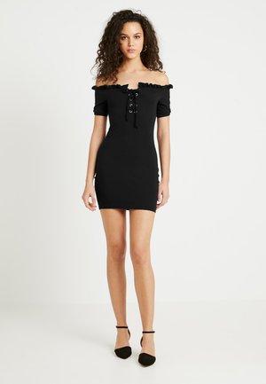 LETTUCE NECK LACE UP DRESS - Robe d'été - black