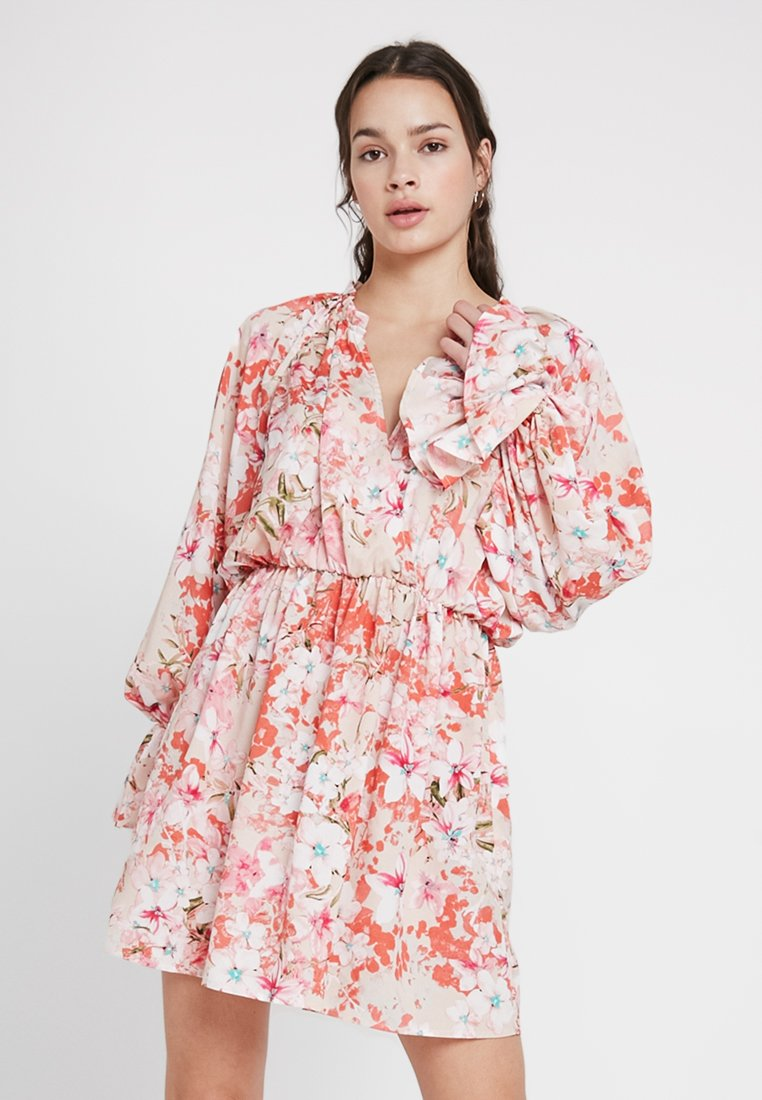 Missguided - FLORAL FRILL DRESS - Vestito estivo - pink