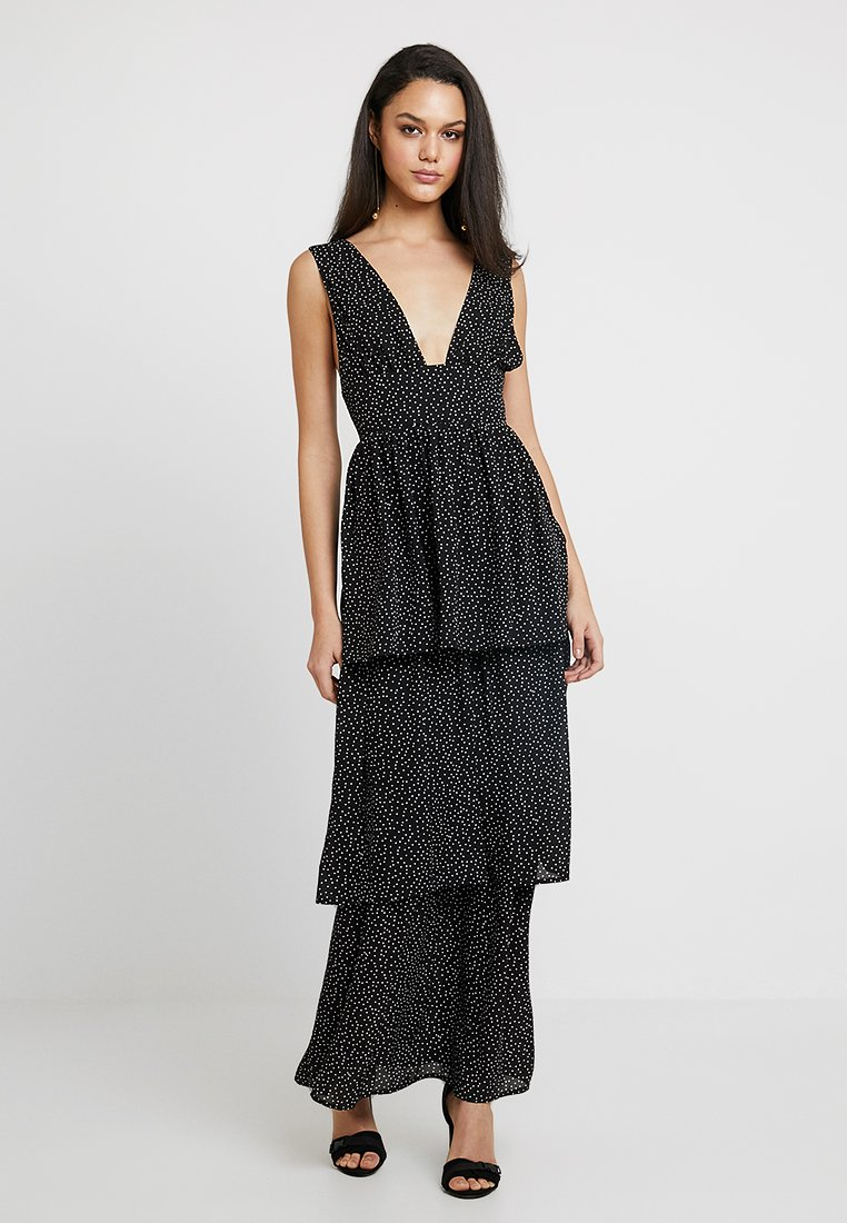 Missguided - SMALL POLKA DOT PLUNGE LAYERED DRESS - Vestito lungo - black/white