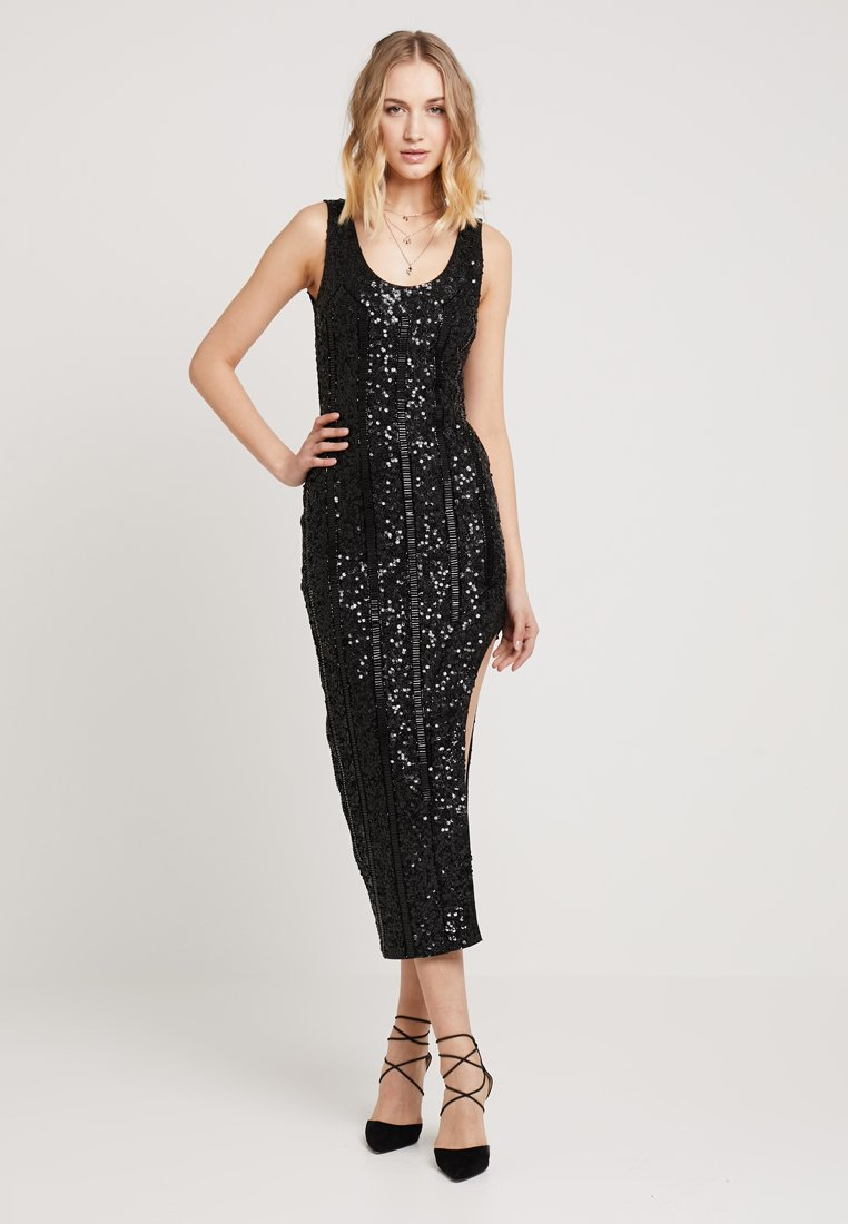 Missguided - PEACE + LOVE SCOOP BACK EMBELLISHED MIDI DRESS - Cocktail dress / Party dress - black