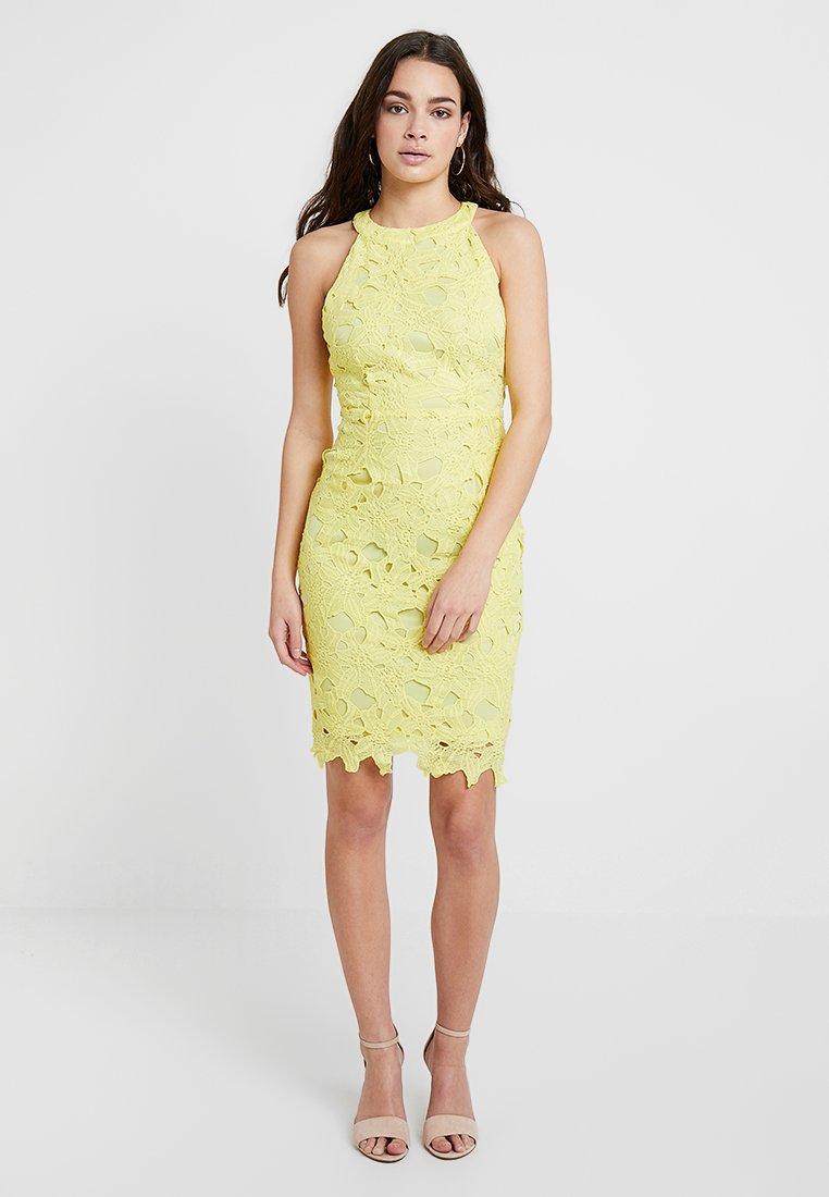 Missguided - HALTER NECK MINIDRESS - Vestido de cóctel - yellow