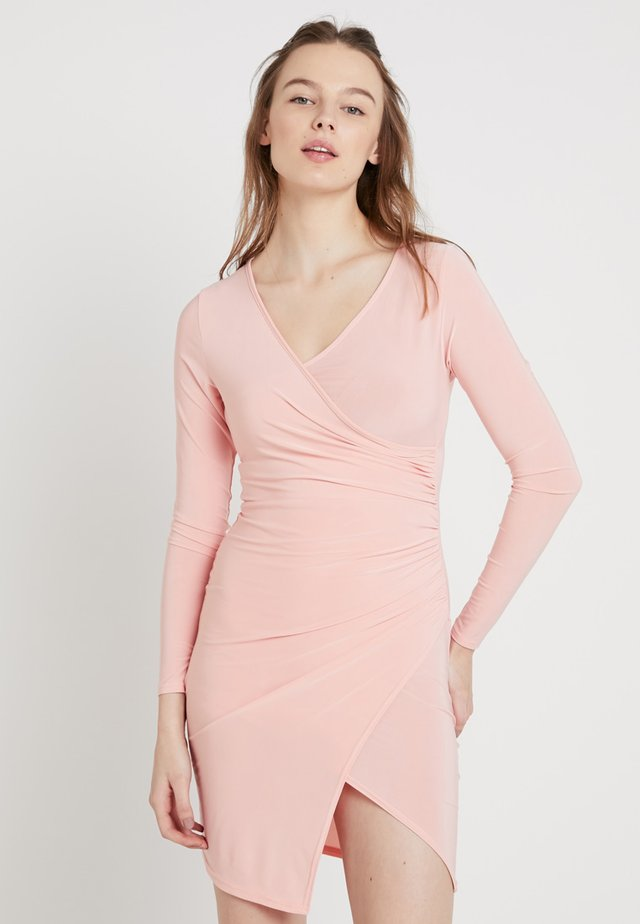 SLINKY PLUNGE WRAP DRESS - Jersey dress - pink