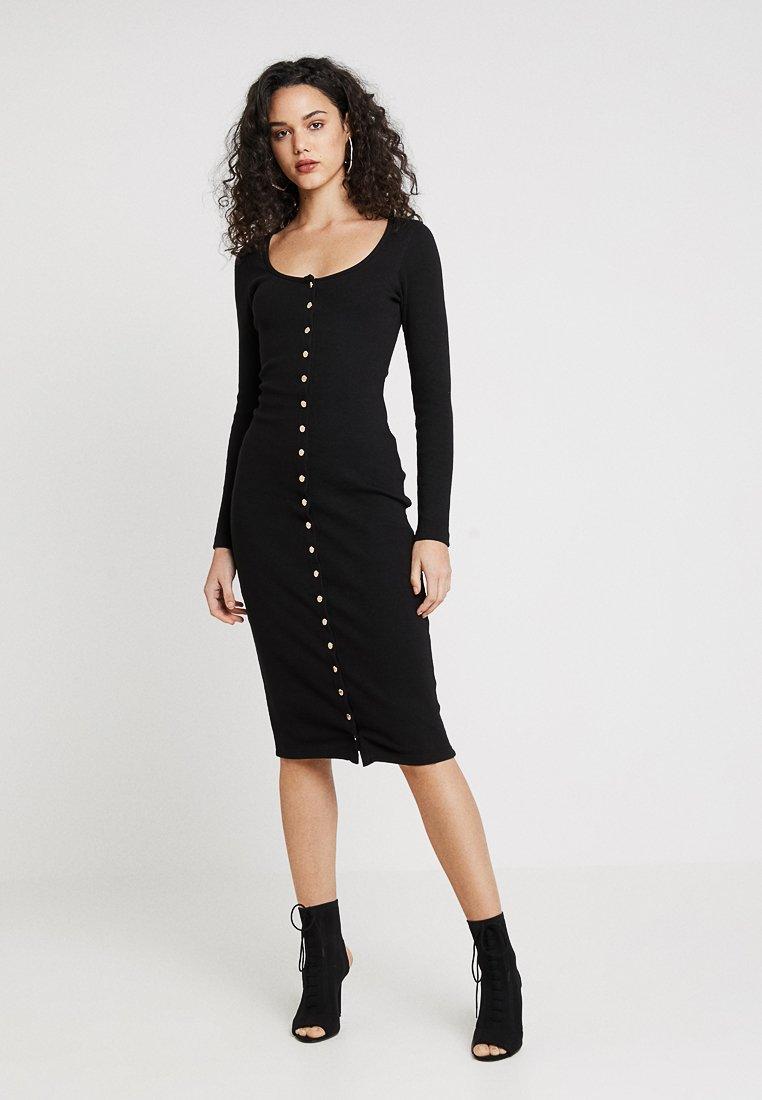 Missguided - POPPER MIDI DRESS - Shift dress - black