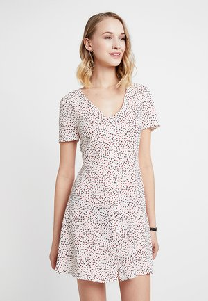 V NECK BUTTON DOWN SHIFT DRESS SPRINKLE - Vestido camisero - cream