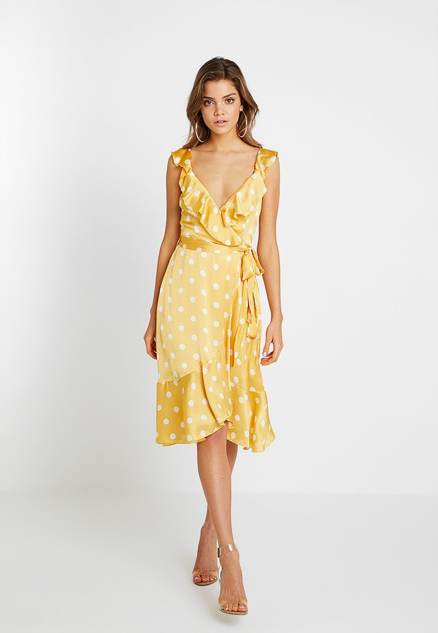 POLKA DOT FRILL MIDI DRESS - Day dress - yellow