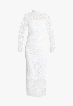 HIGH NECK LONG SLEEVE MIDI - Koktejlové šaty/ šaty na párty - white