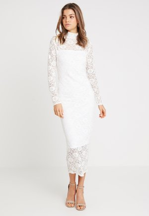 HIGH NECK LONG SLEEVE MIDI - Robe de soirée - white