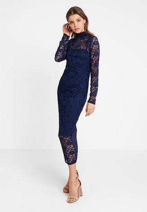 HIGH NECK LONG SLEEVE MIDI - Cocktail dress / Party dress - navy