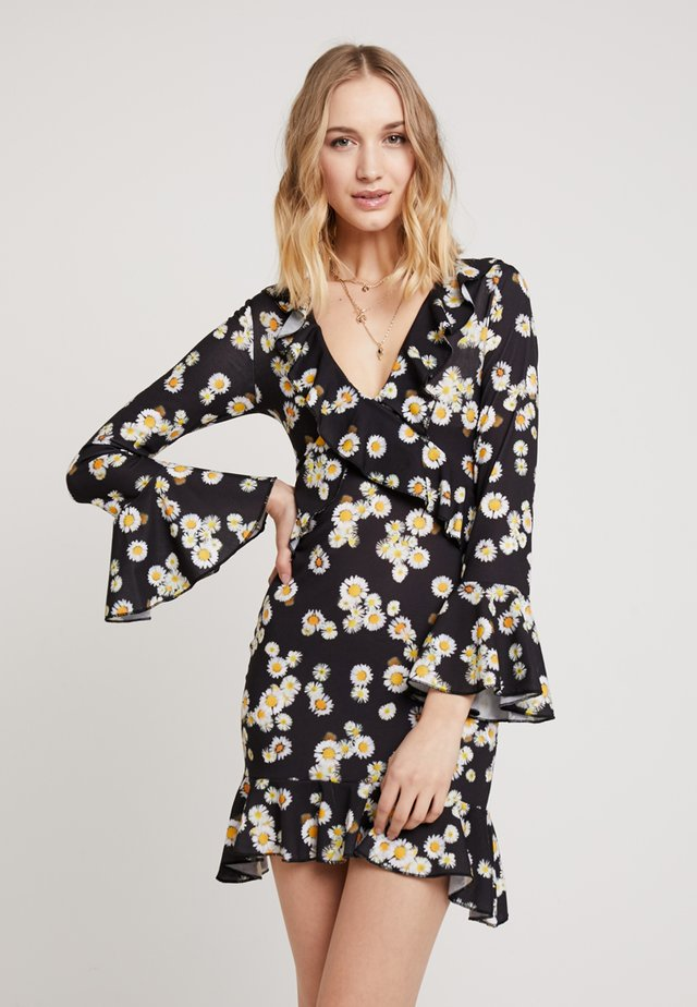 FLORAL LONG SLEEVE TEA DRESS - Sukienka z dżerseju - black