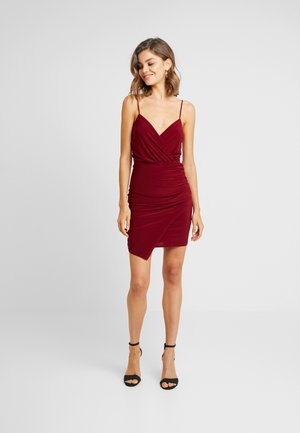 SLINKY WRAP OVER MINI DRESS - Etuikjole - burgundy