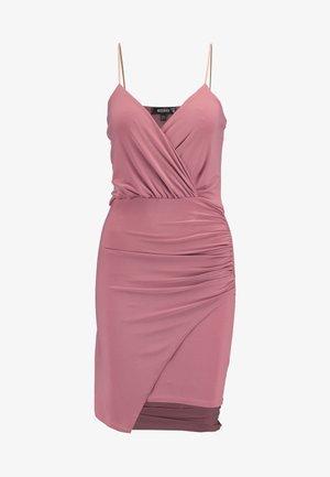 SLINKY WRAP OVER MINI DRESS - Robe fourreau - rose