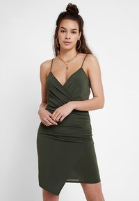 Missguided - SLINKY WRAP OVER MINI DRESS - Robe fourreau - khaki - 0