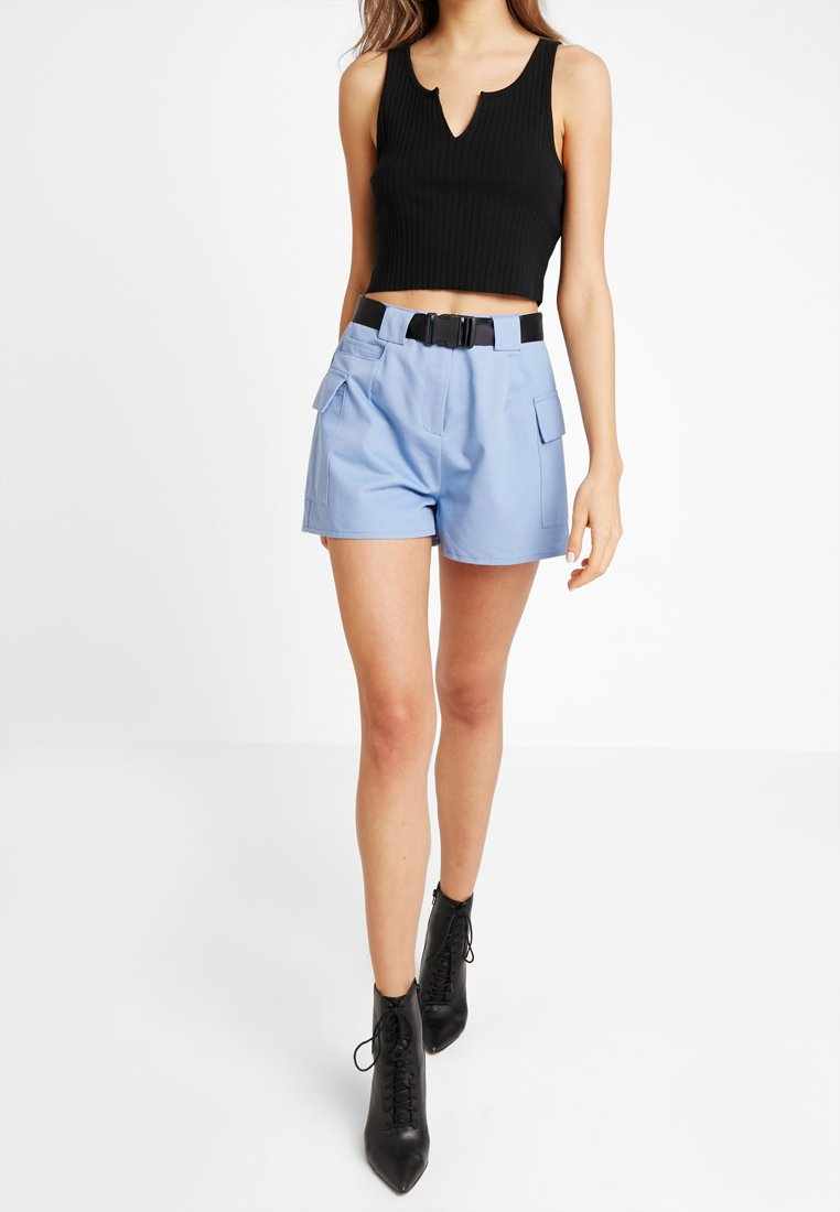 Missguided - BELTED UTILITY SHORT  - Shorts - blue