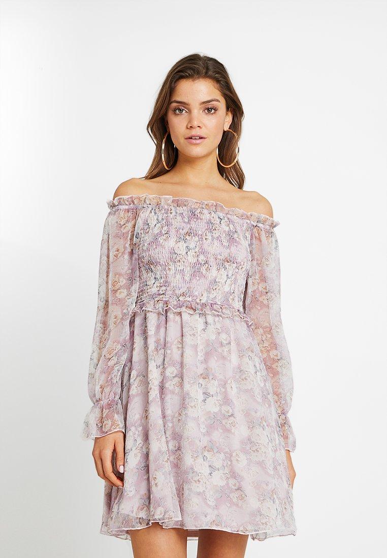 Missguided - BARDOT SHIRRING SKATER DRESS FLORAL - Vestido informal - lilac