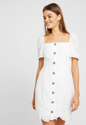 SQUARE NECK BUTTON BRODIERIE ANGLAIS DRESS - Košilové šaty - white