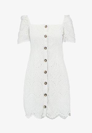SQUARE NECK BUTTON BRODIERIE ANGLAIS DRESS - Sukienka koszulowa - white
