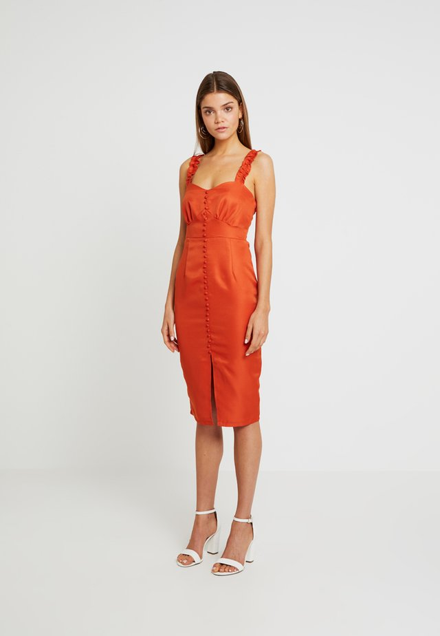 BUTTON DETAIL FRILL STRAP MIDI DRESS - Shift dress - orange