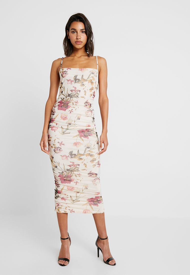 Missguided - FLORAL RUCHED CAMI DRESS - Maxikleid - nude
