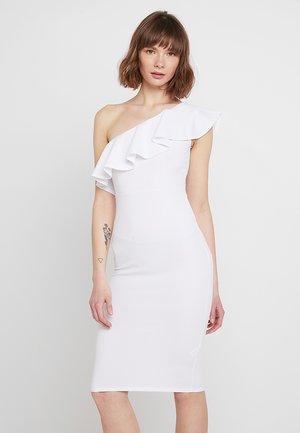 ONE SHOULDER RUFFLE MIDI DRESS - Pouzdrové šaty - white