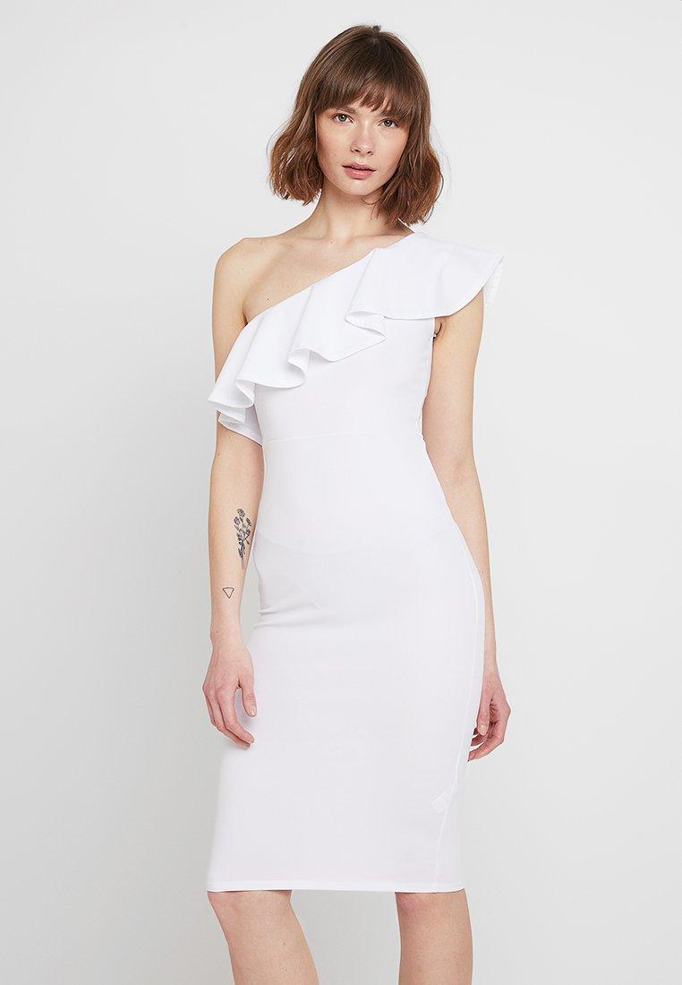 Missguided - ONE SHOULDER RUFFLE MIDI DRESS - Shift dress - white