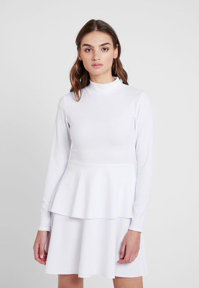 HIGH NECK FRILL DRESS - Jersey dress - white