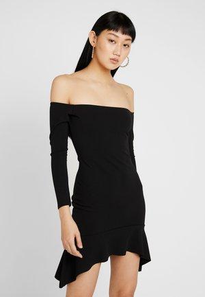 BARDOT FRILL HEM BODYCON MINI DRESS - Jerseyjurk - black