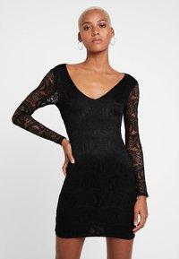 Missguided - OPEN BACK MINI DRESS - Etuikleid - black - 0