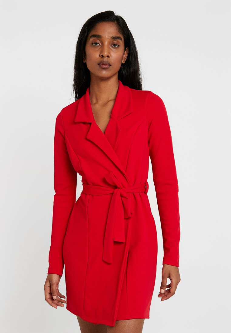 Missguided - LONG SLEEVE BELTED BLAZER DRESS - Shirt dress - red