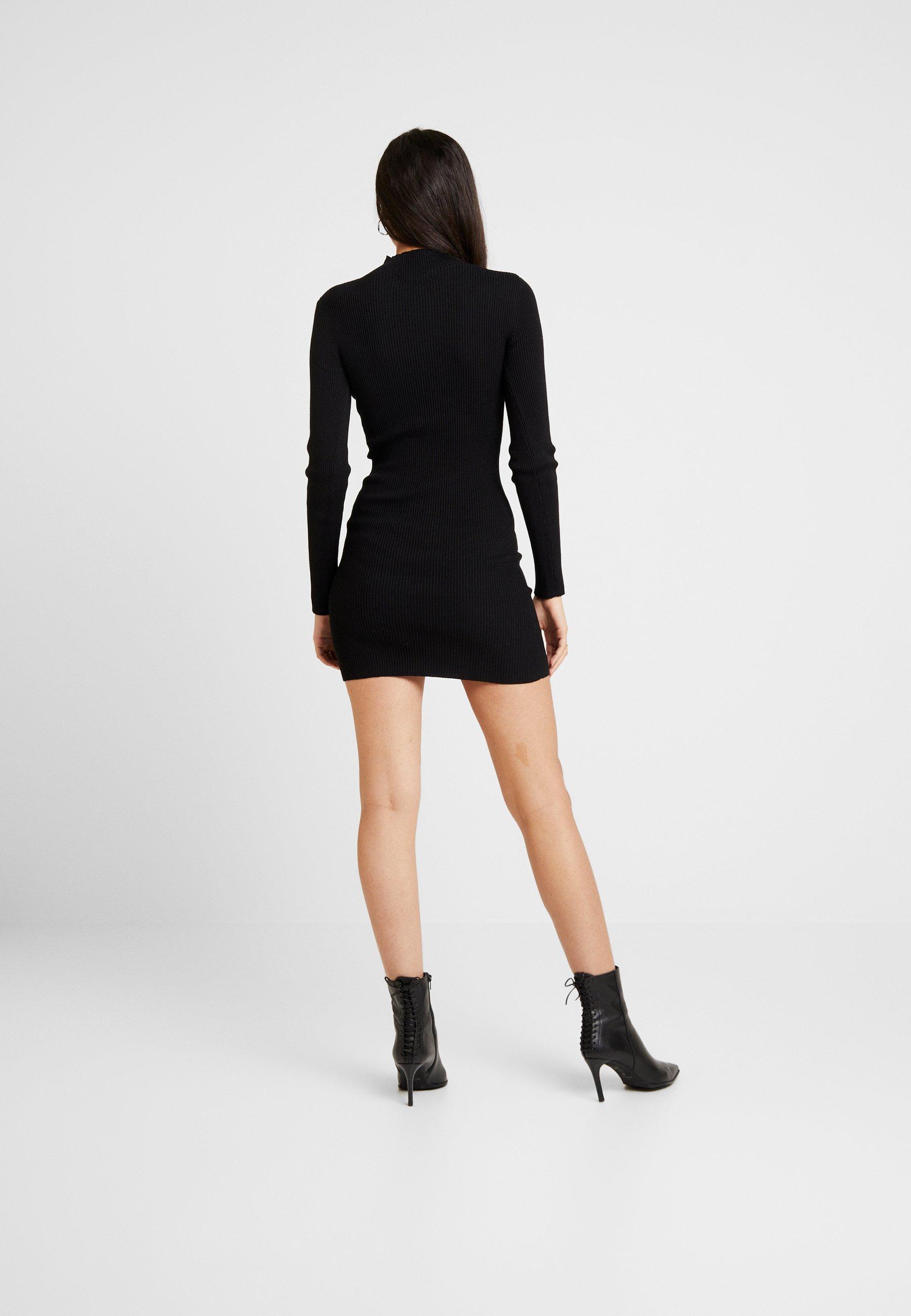 Missguided BASIC HIGH NECK LONG SLEEVE JUMPER DRESS - Etuikjole - black