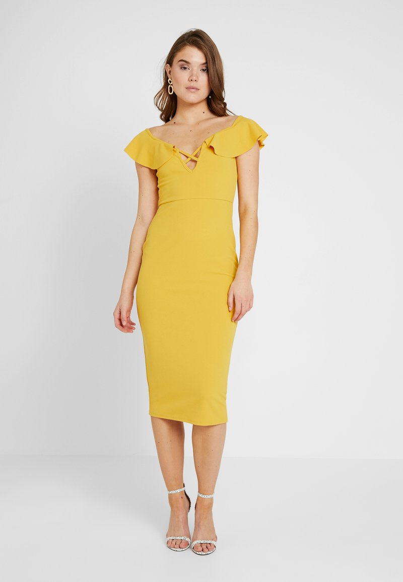 Missguided - BARDOT FRILL CROSS FRONT MIDI DRESS - Etuikleid - mustard