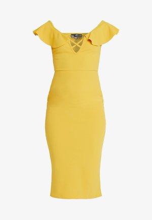BARDOT FRILL CROSS FRONT MIDI DRESS - Pouzdrové šaty - mustard