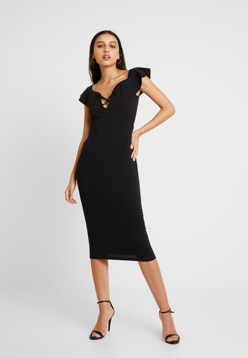 Missguided - BARDOT FRILL CROSS FRONT MIDI DRESS - Pouzdrové šaty - black
