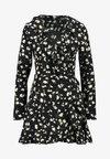 WRAP RUFFLE FRONT TEA DRESS - Denní šaty - black
