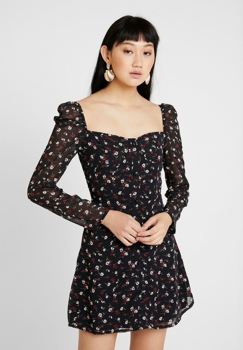 Missguided - FLORAL SQUARE NECK MINI DRESS - Cocktailkleid/festliches Kleid - black