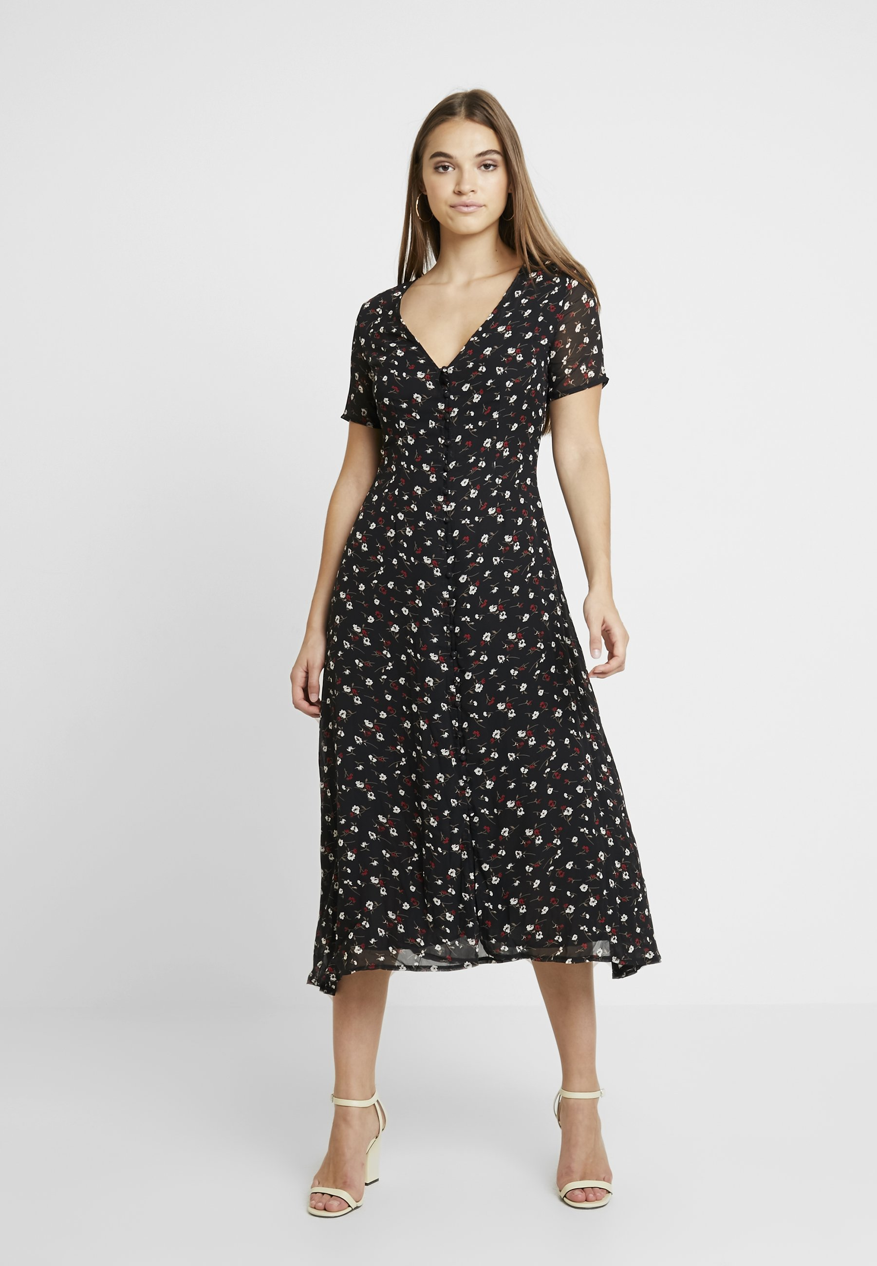 Maxi Floral Longue Missguided Front DressRobe Button Black 8vwmN0nyO